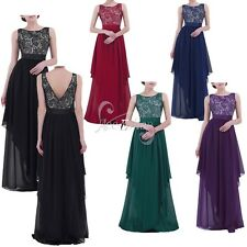 Plus Size SexyWomen Lace Chiffon Evening Formal Party Bridesmaid Maxi Long Dress
