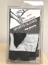 Flexsports Leather Mesh Black/White Weight Lifting Fitness Gym Gloves, MED or LG