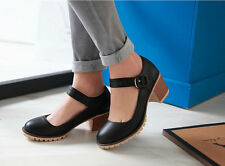 Women Round Toe Chunky High Heels Mary Janes Causal Ladies Shoes Thick Heels