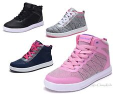 New Girls Tennis Shoes High Top Glitter Sneakers Kids Youth Athletic Lace Up