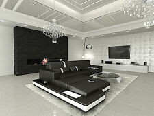 Contemporary Leather Sectional Sofa Set MESSANA L Shaped with Lights