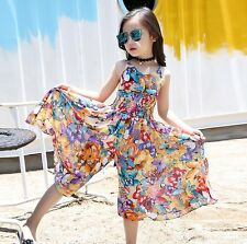 Kids Girl Floral Wide Leg Pants Chiffon Jumpsuit Playsuit Boho Dress Rompers New