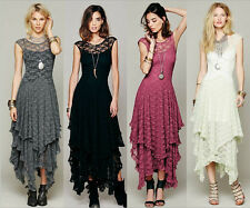 Asymmetrical Hem Hippie Boho Embroidery Floral Casual Sheer Lace Crochet Dress
