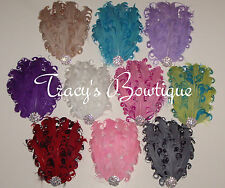 Vintage Inspired Nagorie Curly Feather Pad Crystal for Headbands Hats Hair Clips