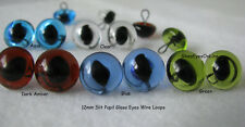5 PAIR 12mm Glass Eyes Wire Loop SLIT Pupil Needle Felting, Cat, Dragon SLP-201
