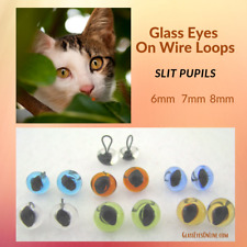 6 PAIR 6mm to 8mm Glass Eyes wire Loop SLIT Pupil needle felting, Cat, SLP-201