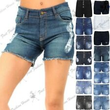 Womens Ladies Raw Edges Ripped Destroyed Faded Hot Pants Distressed Denim Shorts