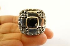 Heavy Black Onyx Solitaire Sterling Silver Balinese Men's Ring  Size 9 10