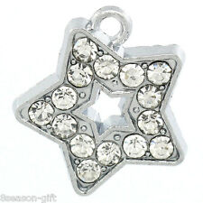 Wholesale Lots Silver Tone Rhinestone Charm Pendants 18x16mm