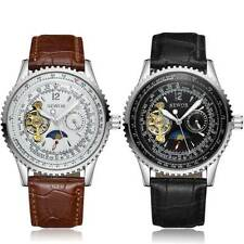 New Mens Leather Moon Phase Steel Skeleton Automatic Mechanical Wristwatches