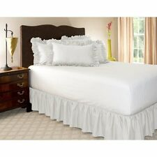 1 Qty Bed Skirt Ruffle/Gathering Egyp.Cotton Drop 8-30 Inch White Solid