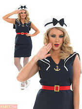 Ladies Pin Up Sailor Girl Costume Womens 1950s Navy Adults Fancy Dress Outfit