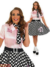 Ladies 1950s Rock N Roll Dress Womens Poodle Grease Fancy Dress Costume Outfit
