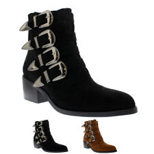 Ladies Rock Western Biker Chic Combat Cowboy Block Heel Ankle Boots All Sizes