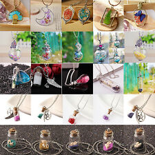 Natural Real Butterfly Flower Lucky Wish Glass Bottle Chain Pendant Necklace AA