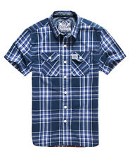 New Mens Superdry Washbasket Short Sleeve Shirt Electric Navy Window
