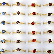 10/30/50/100pcs Wholesale Lots Ring Jewelry Mixed Crystal Gold Plated Rings US