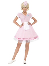 1950's Diner Girl Waitress Rock And Roll Pink Dress Fancy Dress Costume