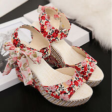 Woman's Fashion Bohemia Floral Wedge Sandals Summer High Heel Beach Shoes Size