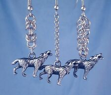 Wolf Earrings Howling Wolves Stainless Steel Chainmaille Animal Spirit Western