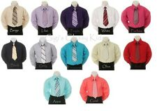 New Toddler Kids Boys Long Sleeve Shirt with Tie Necktie Wedding Party Christmas