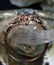 1.8ct Natural Blue Topaz 14K Rose Gold Daisy Filigree Ring Size: {Made To Order}