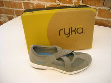 Ryka Grey Leather Criss Cross Mary Jane Shoes New