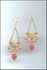 Gold Filigree Earrings with Swarovski CORAL SUNSET Crystals GIFT BOXED