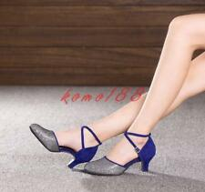 Womens Dancing Shoes Mixed Color Ankle Strappy Latin Ballroom Shoes kitten heels