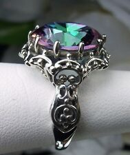 10ct Round Cut *Mystic Topaz* Sterling Silver Gothic Filigree Ring Size: Any/MTO