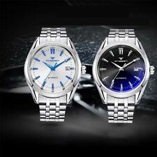 Classic Mechanical Automatic Wrist Watch Mens Sport Date Stainless Steel Band