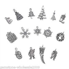 Wholesale Lots Mixed Silver Tone Christmas Charms Pendants Xmas GW