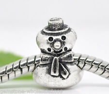 Wholesale Lots Silver Tone Snowman Beads Fit Charm Bracelet 13x10mm GW