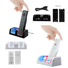 Dual Remote Charging Dock Station +2 Recharge Batteries 2800mAh For Nintendo Wii