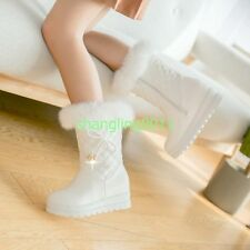 Womens Fashion Winter Warm  Lined Mid Calf Boots Wedge Heels Snow Boots Shoes