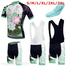 Women Men Floral Short Sleeve Cycling Bike Clothing Bicycle Sports Jersey Shorts