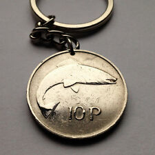 Ireland 10 Pingin coin KEYCHAIN Irish harp Salmon fish Eire sea Eire k000007