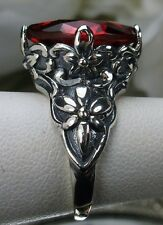 7ct Marquise *Red Ruby* Sterling Silver Floral Filigree Ring (MTO/New) Size: Any