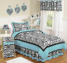 Turquoise Blue Black Zebra Print Teen Kids Twin Girl Jojo Bedding Set Collection