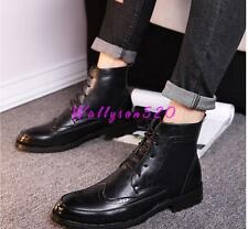 Mens Carved Brogue dress Shoes Wingtip Lace Up High Top Casual Ankle Boots