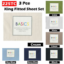3 Pce - 225TC King Size Fitted Sheet with 2 Std Pillowcases - 6 Color Choice