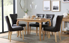 Clarendon & Bewley Oak Dining Table and 4 6 Chairs Set (Dark Brown)