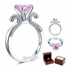 925 Sterling Silver Engagement Ring 2 Ct Elegant Fancy Pink Lab Created Diamond