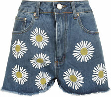 Womens High Waist Daisy Flower Print Mini Denim Pocket Shorts Ladies Hot Pants