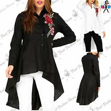 New Womens Ladies Collared Button Down Rose Embroidered High Low Shirt Dress Top