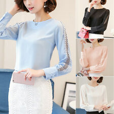 Fashion Ladies Hollow Office Shirts Lace Chiffon Long Sleeve T Shirt Blouse Top