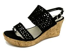 WOMENS BLACK WIDE-FIT EEE WEDGE PLATFORM OPEN-TOE STRAPPY SANDALS SHOES 4-10