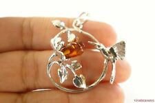 Poland Baltic Amber Carved Rose Bird 925 Sterling Silver Pendant