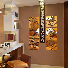 3D Rose Self Adhesive Mirror Wall Decal Sticker Removable Vinyl Art Home Decor
