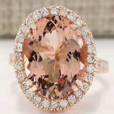 Women 18K Rose Gold Filled Morganite White Topaz Ring Engagement Fashion Jewelry